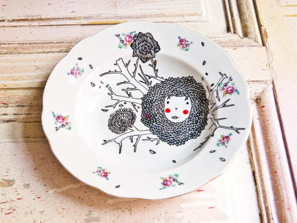 Handpainted plate by childlab via dawanda.com