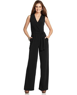 NY Collection Petite Jumpsuit, Sleeveless Surplice Wrap Belted Wide Leg Jersey - Petite Pants & Shorts - Women - Macy's