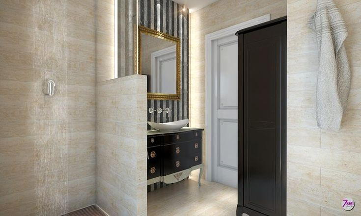 Rendering progetto arredamento e decorazione d'interni bagno ospiti Olbia