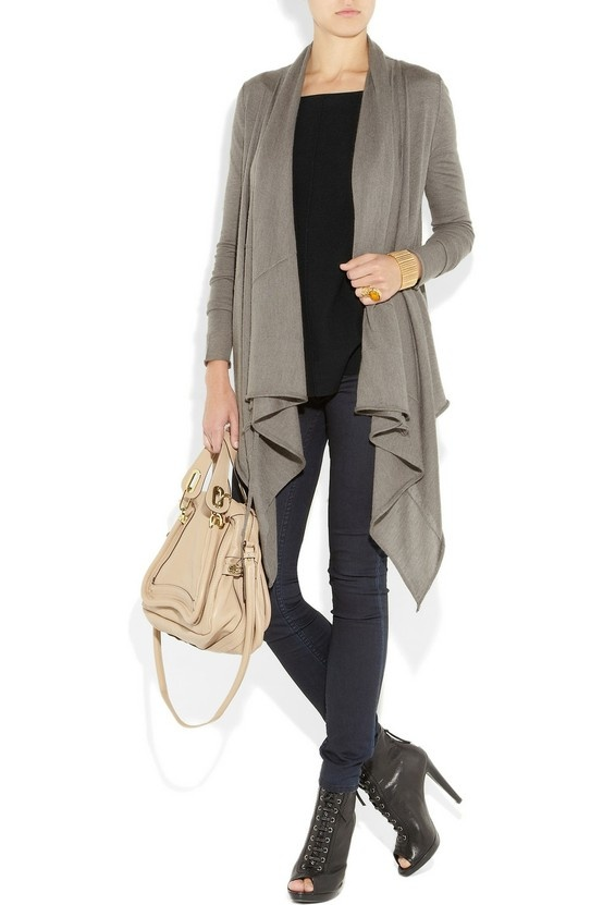 Black jeans and top with grey waterfall cardigan