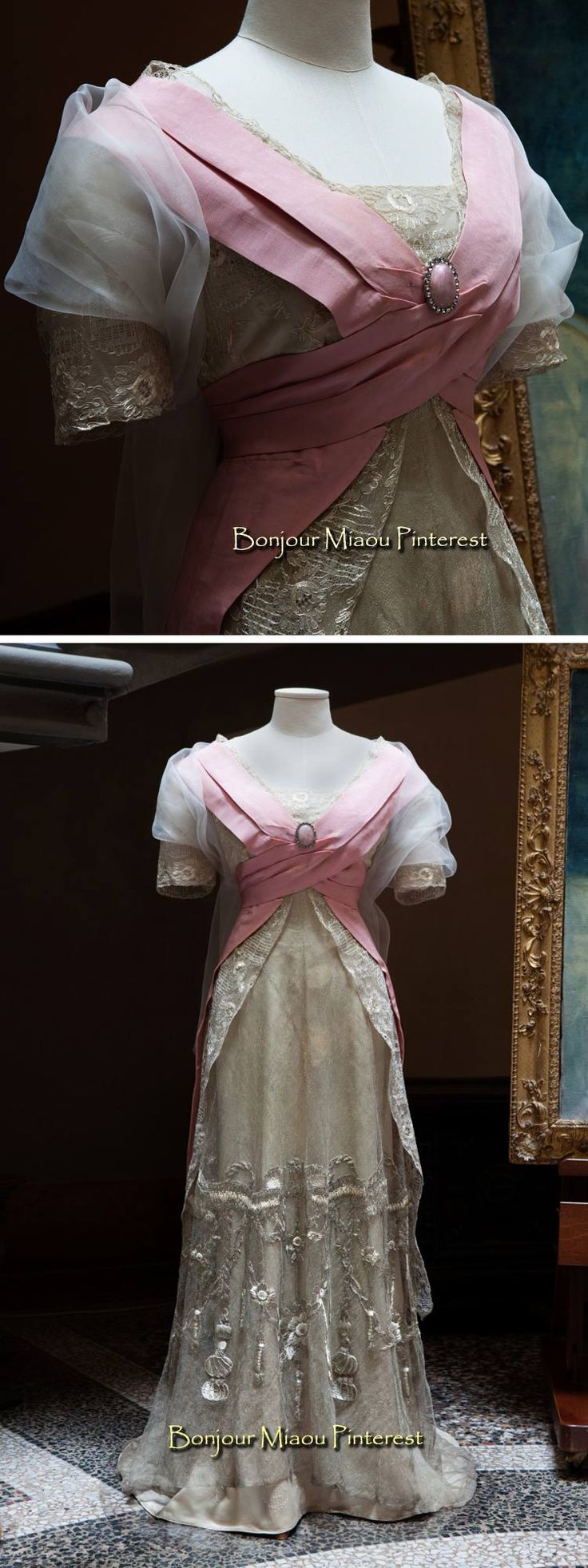Evening dress, Callot Soeurs, ca. 1907. Pink & cream silk with embroidered metallic net overlay and train.
