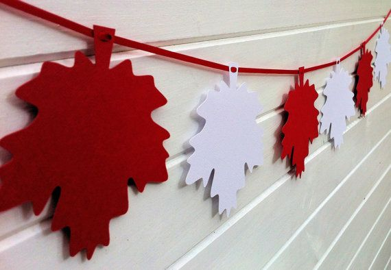 Maple Leaf Garland. Red and White party bunting. Other colors for Autumn or Fall decor, Thanksgiving. by MyPaperPlanet