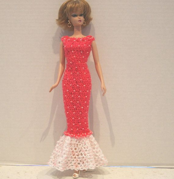 Hand Crocheted Gown for Silkstone Size Barbie by DollDeeLights