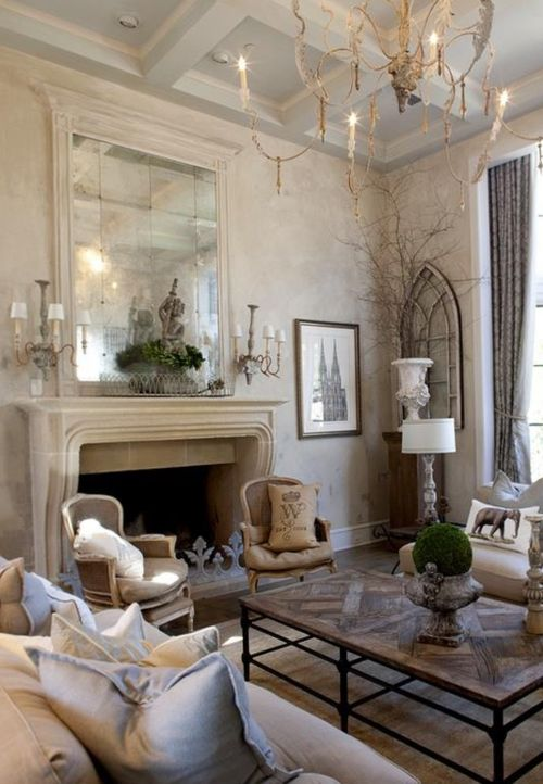 ARTICLE + GALLERY: How to Go Gray When Your Entire House Is Beige - Pt. 2: love the mirror over the fireplace