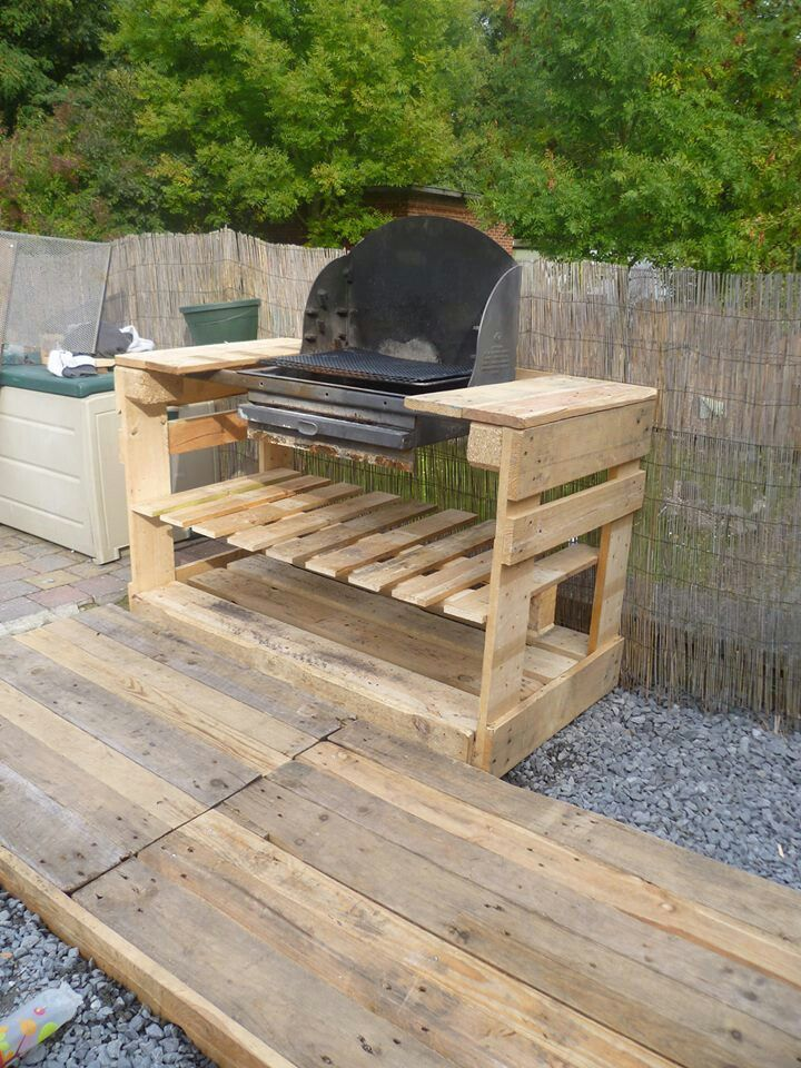 Pallet BBQ area...not sure I'd want the grill on the wood....but this would be great with a solid top surface for the prep area.