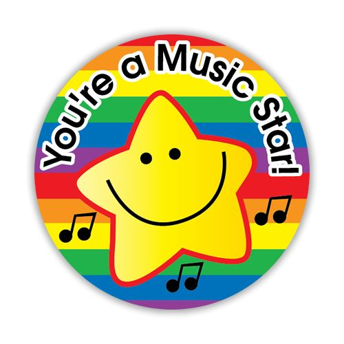Reward your budding musicians with this You're A Music Star sticker. 125 per pack.