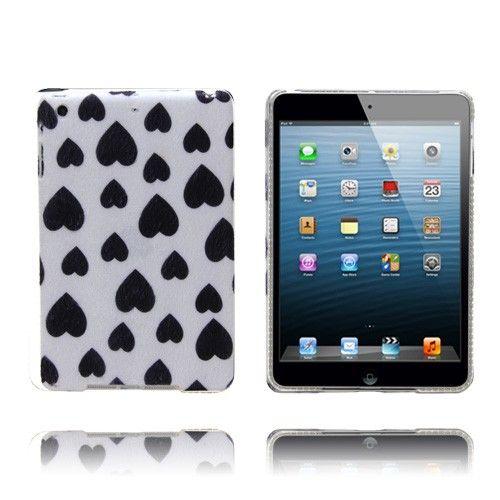 Raining Hearts (Musta / Valkoinen) iPad Mini Kotelo