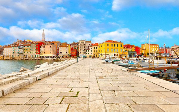 Croatia - the colourful harbour in the Istrian resort of Porec