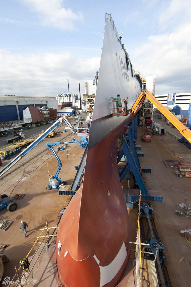Thin Wave Piercing Bow Profile of USS Zumwalt DDG 1000.