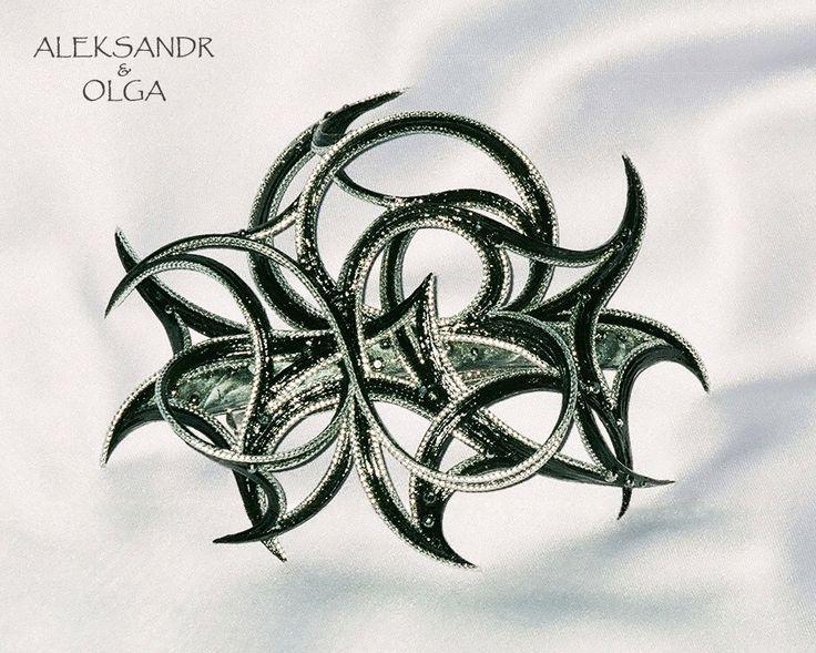 Украшение - ЗАКОЛКА - постиж, серебристая (ИЗ натуральных ВОЛОС) http://www.livemaster.ru/hair-jewellery http://www.aleksandr-and-olga.ru/