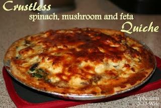Crustless Spinach, Mushroom and Feta Quiche