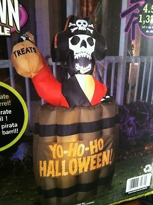 Animated Airblown Inflatable Pirate Rising Out of A Barrel Halloween Yard Prop   eBay