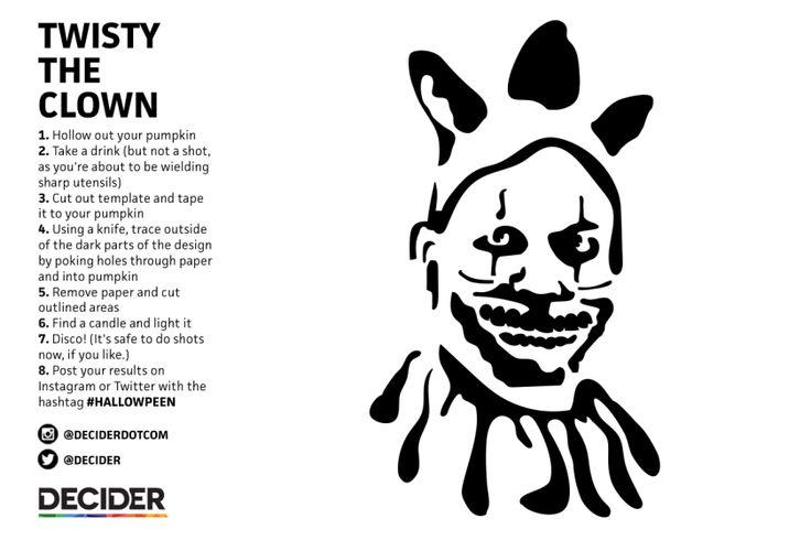 Decider pumpkin carving twisty the clown dark and for Creepy clown pumpkin stencil