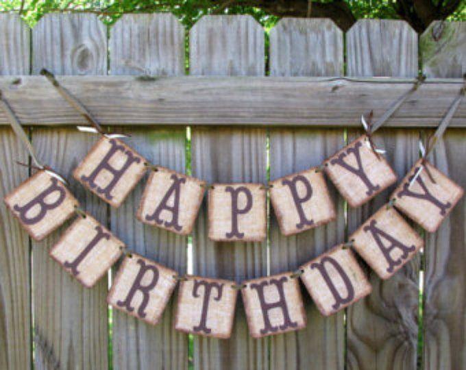 Barn Wood Look Birthday Banner Rustic Birthday Cowboy Etsy Rustic Birthday Cowboy Birthday Happy Birthday Fun