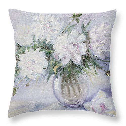 MORNING WITH WHITE PEONIES by ELENA ANTAKOVA..   Belongs to the gallery RUSSIAN ARTISTS NEW WAVE.  Exqusite lightness of the floral painting with white peonies,  #ElenaAntakova #RussianArtistsNewWave #Peony #StillLife #Painting #Art #ArtForSale #OriginalPainting #OriginalPaintingForSale #HomeDecor #InteriorDesign #IdeasForHome #White #FloralArt #FloralDecor #Cushion #Pillow