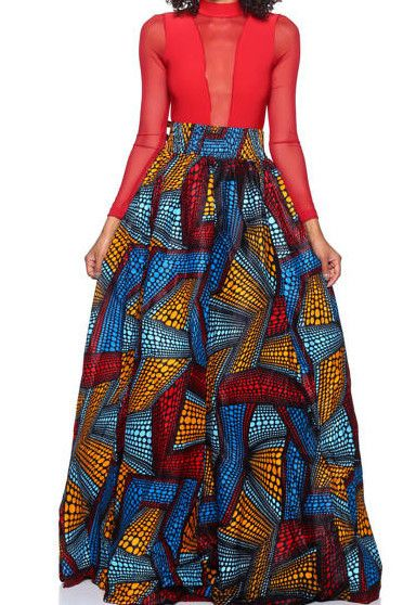 This Skirt is a eye catcher. Printed African design. One size fits up to 3x!