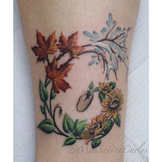 Four seasons tattoos. Love this concept! I would use different colors.