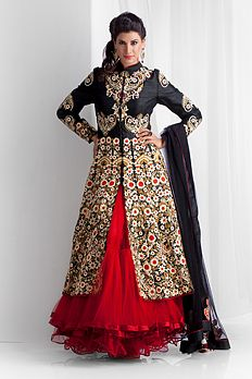 Red and black lengha - Benzer World 2014 collection