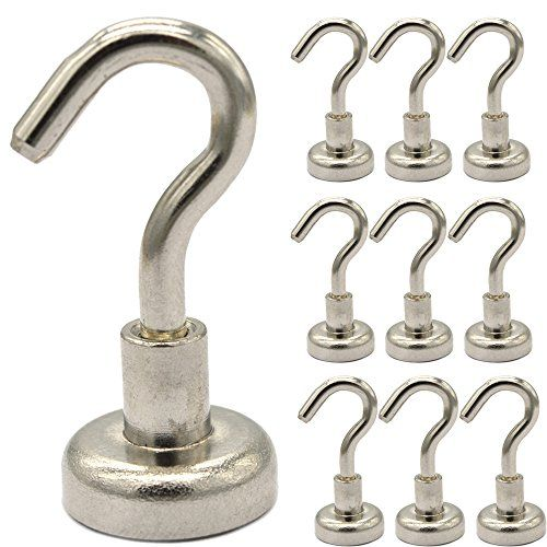 MXtechnic Magnetic Hooks 12LB Strongest Heavy Duty Neodymium Hanging for Storage and OrganizationMultiuse for Indoor Outdoor Kitchen Bathroom Bedroom Garage Lockers Office10 Packs * You can find out more details at the link of the image. Note: It's an affiliate link to Amazon