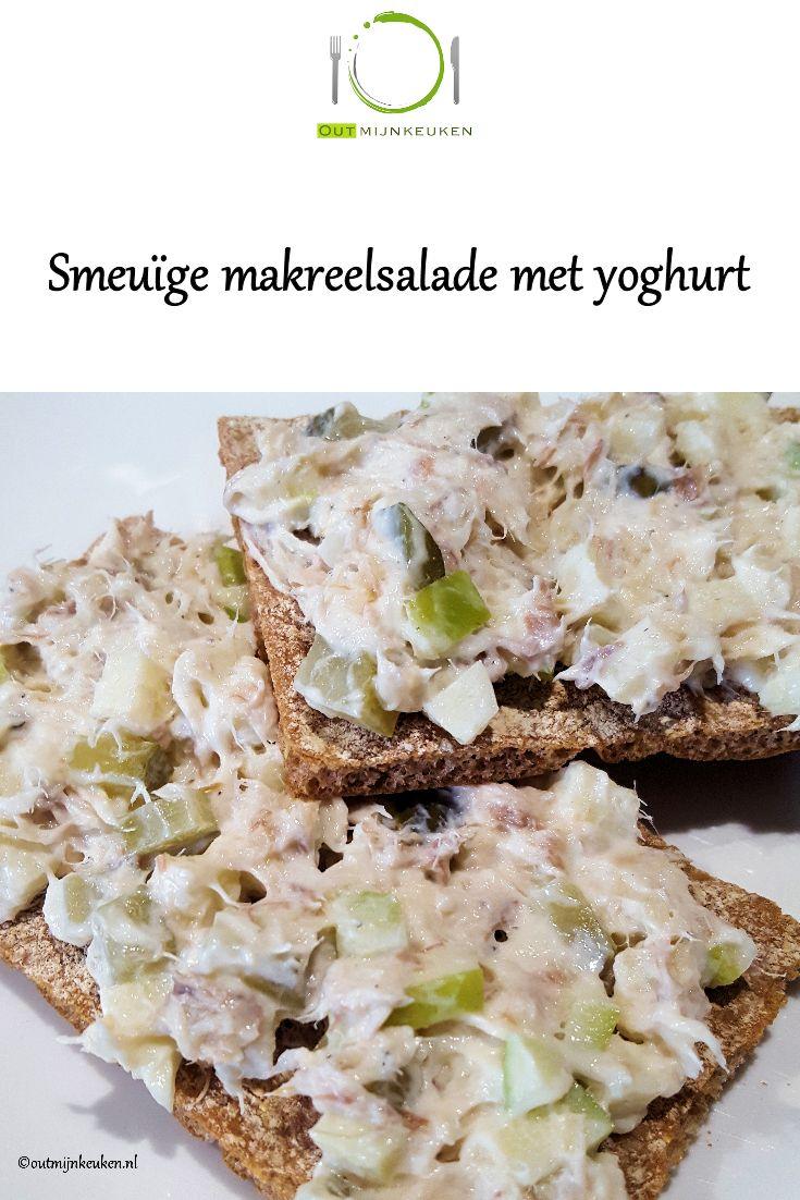 Smeuïge makreelsalade aangemaakt met yoghurt in plaats van mayonaise. Dat scheelt behoorlijk wat calorietjes!