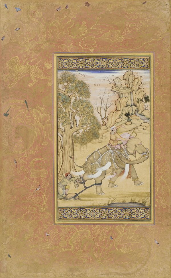 """Folio from the Gulshan Album (Rose Garden album); recto: Elephant and trainer; verso: Quatrain in nasta'liq allegedly by Mir 'Ali al-Katib 