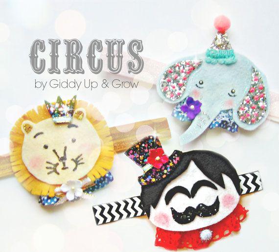 Circus Headband Felt Elephant with glitter by giddyupandgrow