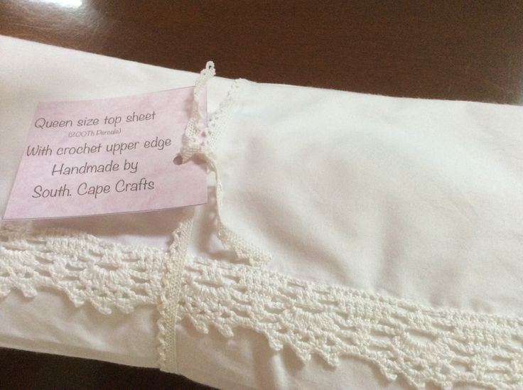 Cotton percale top sheet with crocheted trim by South Cape Crafts