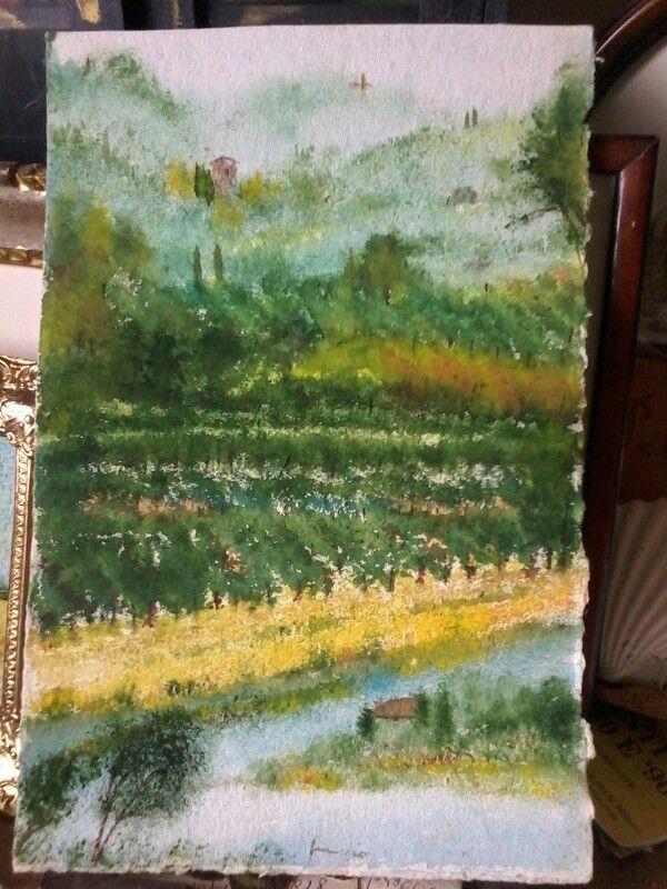 Le nostre viti collinari.belle anche in autunno acqua su carta a mano Fabriano. 3ox40