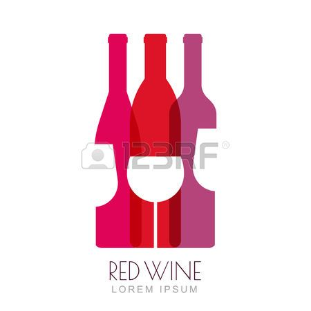 pink wine: Vector wine bottles and glass, negative space logo design template. Colorful trendy illustration in red and pink colors. Concept for wine list, bar menu, alcohol drinks, wine label, grape wine recipe.