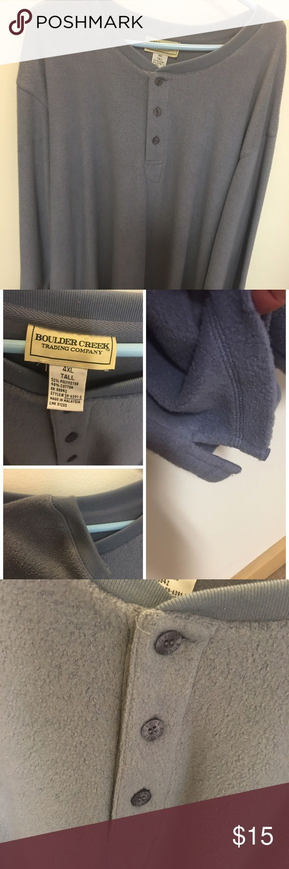 Slate blue fleece long sleeve pullover New never worn no tags- for the big/tall  guy in your life- purchased new and too big for hubby Boulder Creek Shirts Sweatshirts & Hoodies