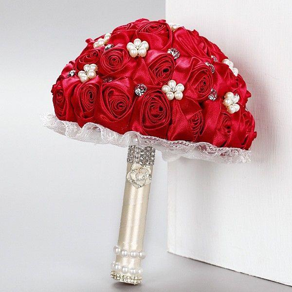 Ручной работы невесты с цветами в руках шелковый красные розы жемчуг кристалл алмазы свадебный с цветами в руках букет WT24 свадебный букет высокое качество(China (Mainland))