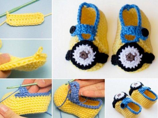 Minion Booties Free Crochet Pattern