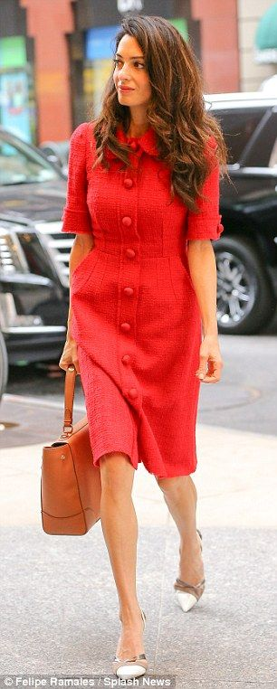 She means business: The 37-year-old was hard to miss in her ensemble as she strutted through the street
