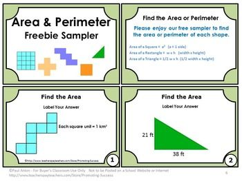 Area and Perimeter: Area and Perimeter FREE Math Task Cards - This FREE printable packet focuses on the 3rd and 4th grade common core math skills of calculating area and perimeter of shapes. ~ Teachers Pay Teachers Promoting Success for You and Your Students!