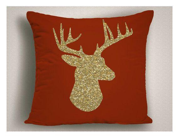 Rojo Navidad cojines fundas de almohada de oro por StickandPatti