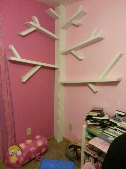 DIY Tree book shelf. I'm not handy, but I think even I could make this!