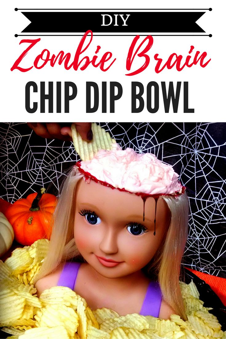 Gross out your Halloween party guests with this disgusting DIY chip dip bowl! @mellieandlou.com