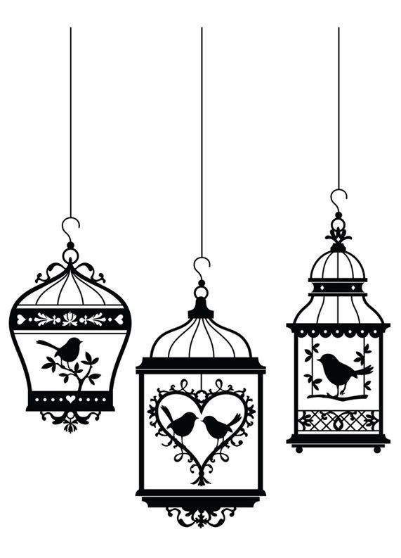Three bird cages