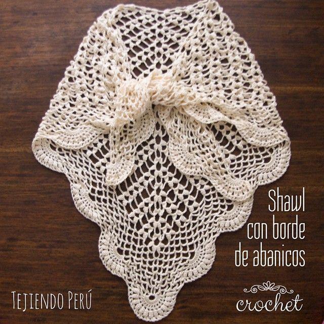 Paso a paso: shawl o chal con borde de abanicos tejido a crochet ...