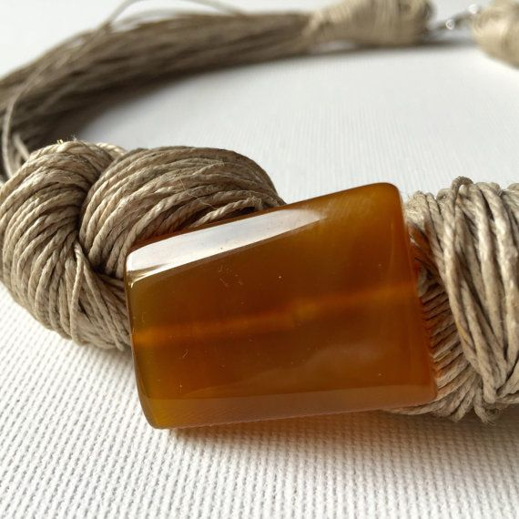 Honey Agate linen necklace by GreyHeartOfStone on Etsy