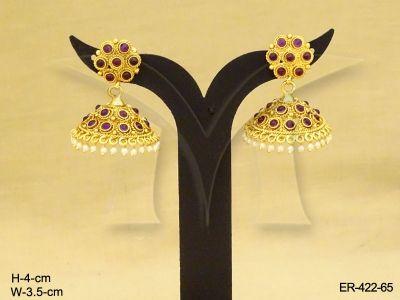 ER-422-65 | SMALL ROUND KEMP JHUMKA ANTIQUE EARRINGS