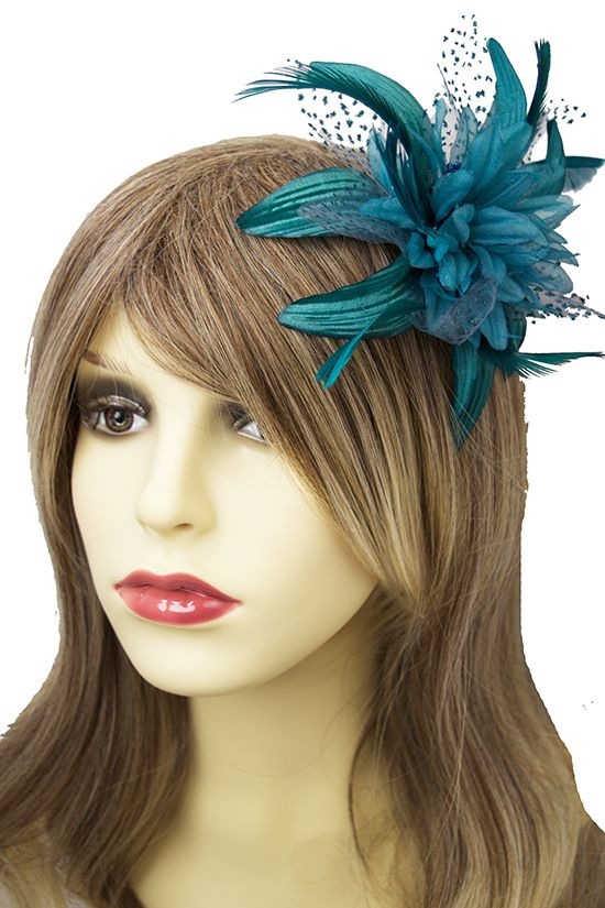 Pretty Teal Flower & Feather Comb Hair Fascinator
