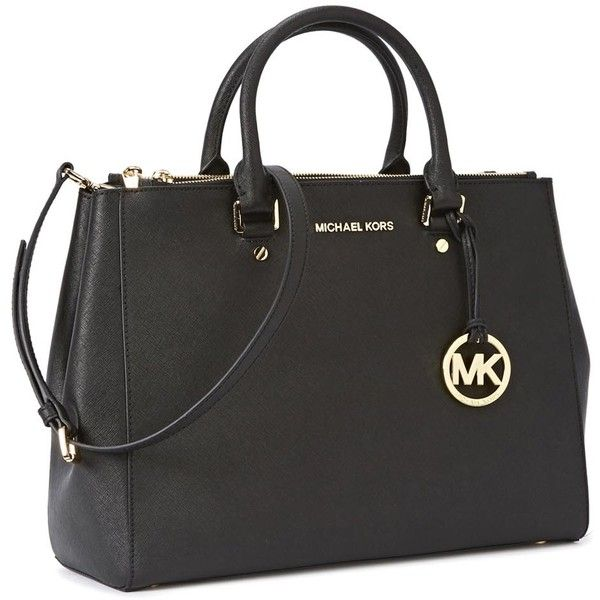 Womens Shoulder Bags Michael Kors Sutton Large Black Leather Tote ($505) ❤ liked on Polyvore featuring bags, handbags, tote bags, black tote, black purse, black handbags, genuine leather handbags and black leather purse