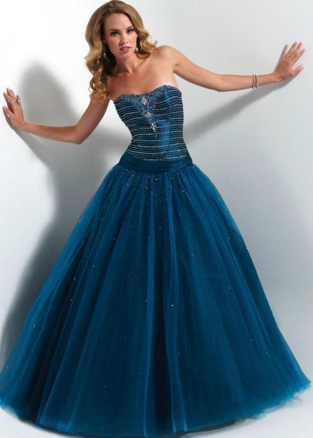 modré plesové šaty na maturitní ples Yvettey - plesové šaty, svatební šaty, společenský salón