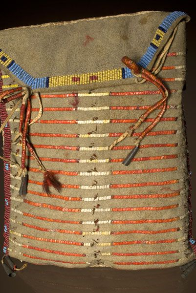 Quillwork by the Sioux Indians | thread and sinew sewn with lanes of red white heart