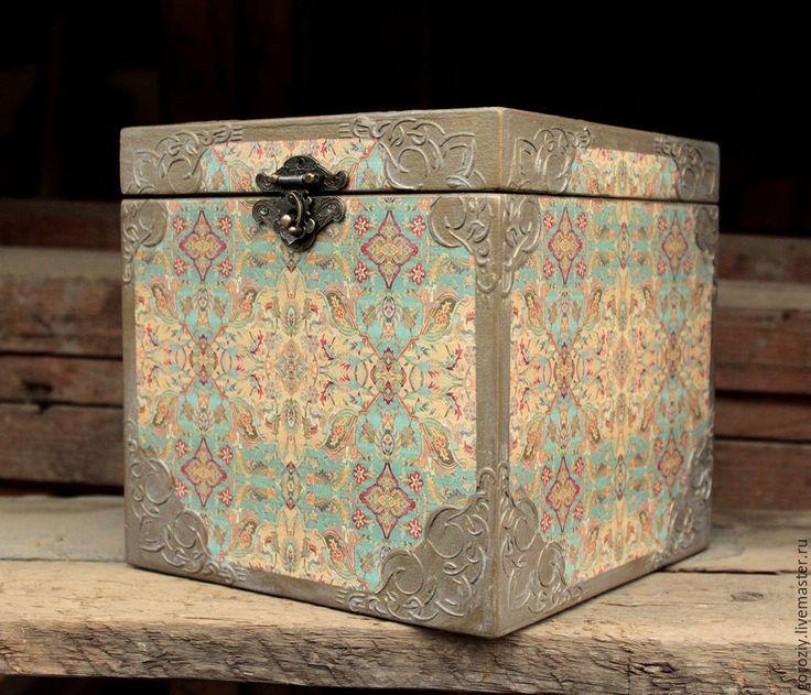"""Купить Сундук """"Старинный восток"""" - разноцветный, сундук, сундук под старину, Декупаж, сундук деревянный"""