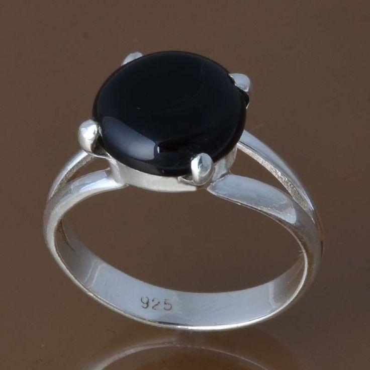 925 STERLING SILVER LADIS BLACK ONYX RING 4.01g DJR8380 SZ-9 #Handmade #Ring
