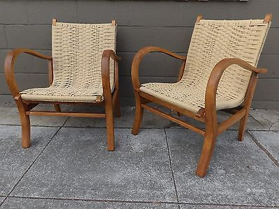 Mcm Pair Of Woven Jute Bentwood Lounge Chairs 950 Wouldn