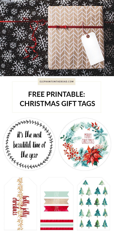 Free Printables Christmas Gift Tags. Freebie. Elephant on the Road.