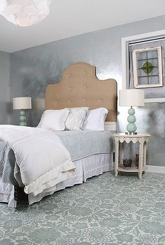goodbye carpet hello stenciled floor with annie sloan chalk paint, bedroom ideas, chalk paint, flooring, painting, The completed floor Wall treatment is a silver foil decorative finish